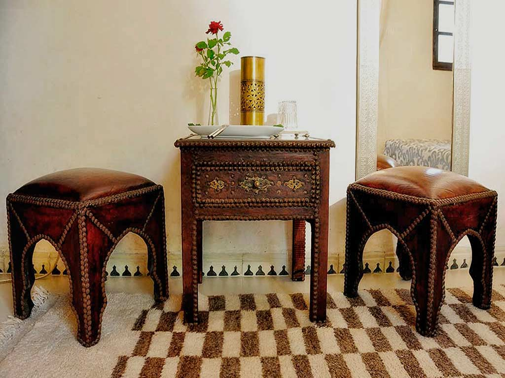 Moroccan style in Baraka room. Riad Aguaviva. Hotel-boutique in Marrakech