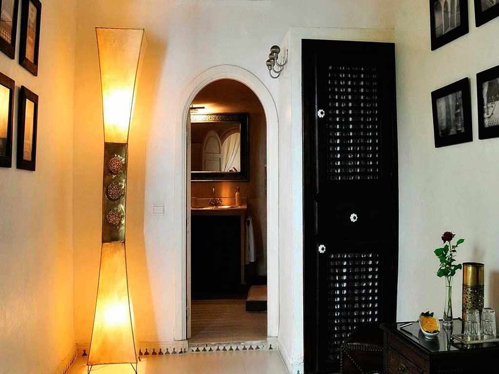 Moroccan lamp in Baraka room. Riad Aguaviva. Marrakech, Morocco.