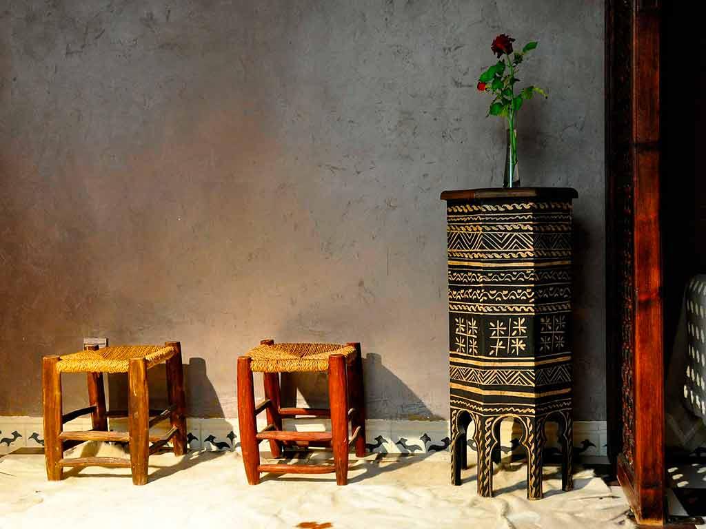 Moroccan design in Africa room. Riad Aguaviva.