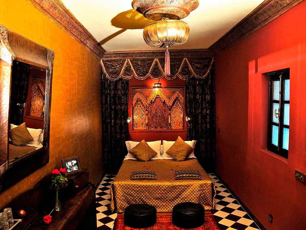 Sultan room in Riad Aguaviva. Boutique hotel in Marrakech, Morocco