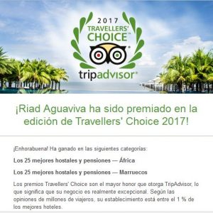 Riad Aguaviva, winner Travellers Choice 2017