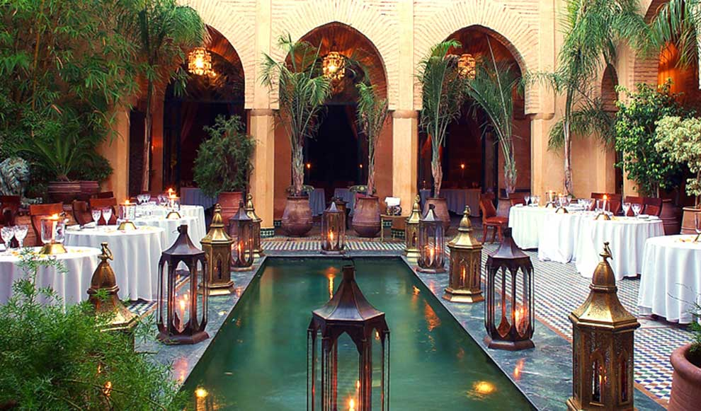 Dar Yacout restaurant in Marrakech, view of the patio