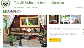 Riad Aguaviva it´s 9 position bed and breakfast in Morocco (Tripadvisor)